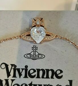 Vivienne Westwood rose gold tone Ariella Love Heart Crystal Orb Bracelet BNWT