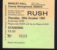 1981 Rush FM concert ticket stub Stafford Moving Pictures Tom Sawyer 10/29