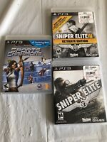 Playstation 3 Video Game Lot Of 3 Sniper Elite & PlayStation Move