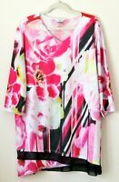 CJ Banks Womens Top Blouse Shirt 3/4 Sleeve Size 3X Pink Floral V Neck Tunic
