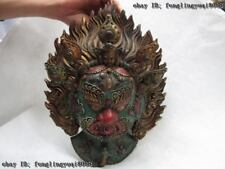 Tibetan Buddhism Wood inlay turquoise coral ruby beryl Mahakala Buddha Head Mask