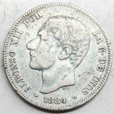 ESPAÑA ALFONSO XII 1884 *18-84 MSM 2 PESETAS MONEDA PLATA MBC