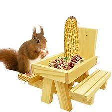 New listing Squirrel Picnic Table Feeder with Corn Cob Holder Chipmunk & Squirrel Feeder