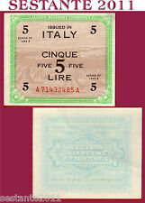 ITALIA ITALY 5 AM LIRE 1943 A,suffix AA  ALLIED MILITARY CURRENCY P M18a FDS UNC
