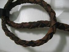 """Vintage Bullwhip Whip - Genuine Plaited Cow Leather / Approx 60"""" Long, Wood"""