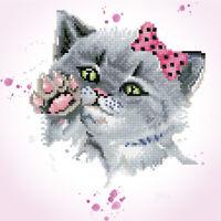 Diamond Painting Kit Dotz 5D 2D Gem EYE SPY KITTY 40 x 40cm Cat Kitten Pink