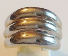 bague rétro argenté 3 anneaux  top qualité taille 57