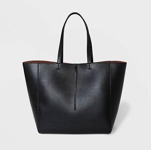 Reversible Tie Closure Tote Handbag - A New Day Black/Cognac