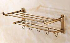 Antique Brass Wall Mounted Bathroom Shelf Towel Rack Holder With Hooks