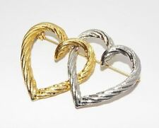 Silvertone & goldtone double HEART textured BROOCH pin costume jewelry