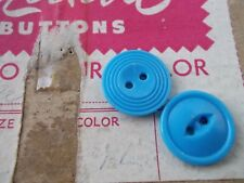 Pack of 6 vintage buttons 16mm eye back two holes powder blue
