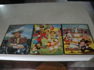 LOT OF 3 Whitman FRAME TRAY PUZZLE - (1) Roy Rogers -  (2) Walt Disney 1950's