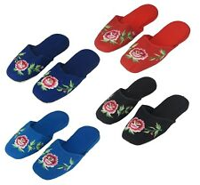 Girl's Embroidered Floral Chinese Cotton Slippers Blue Red Black Turquoise New