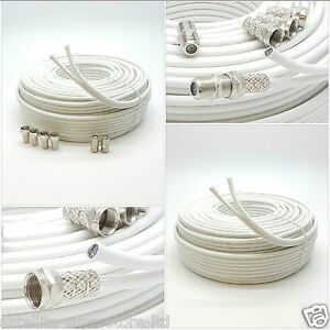 10m White TWIN Coaxial Satellite Extension Cable suitable for Sky Q, HD Freesat