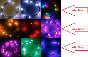 LED Drahtlichterkette Lichterkette mit Timer Innen 10er 20er40er Batterie mt NEU