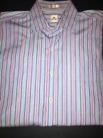 Men's Large Pink and Blue Striped Peter Millar Button Down Dress Shirt