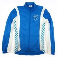 Descente Cycling Jersey Jacket w Hidden Hood & Built in Belt Blue White - Medium