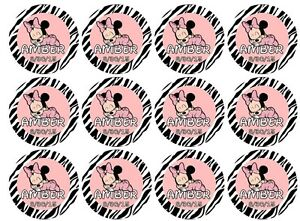 30 Minnie Mouse Zebra Baby Shower Lollipop Labels Stickers Personalize change OK