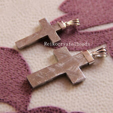 Natural Gibeon Meteorite Cross Shape Silver Plated Pendant 28x18mm