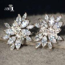 925 Silver Filled long tassel Earrings 1Pair White Sapphire Ear Drop Dangle Stud