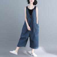 Women Casual Loose Denim Overalls Pants Wide Leg Jumpsuits Jeans baggy Plus Size