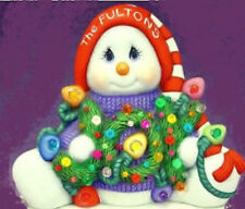 """Ceramic Bisque Ready to Paint """"JOY"""" Snowman clip in light included"""