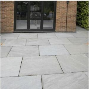 Silver Kandla Grey Indian Sandstone Calibrated Handcut Garden Paving Patio Slabs
