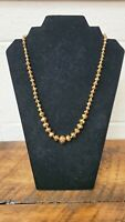 Vintage Brown Glass Crystal Bead Necklace  Brown Aurora Borealis Faceted Bead