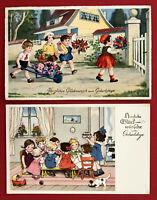 2 x Glückwunsch AK GEBURTSTAG 1937 Kinder mit Schubkarre und Kaffee Tafel( 67475
