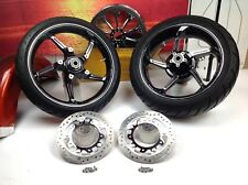 "09-18 Harley CVO 19"" Front & 18""Rear Blk & Chrome Aggressor Wheels Rims & Tires"