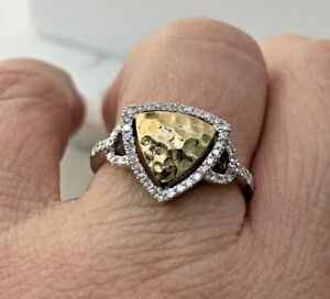 Natural Diamond Triangular Ring in 14K Yellow and White Gold Sz 7 ( 0.20 Tcw. )