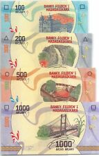 Madagascar set 100, 200, 500, en 1000 Ariary Unc 2017 Pn New