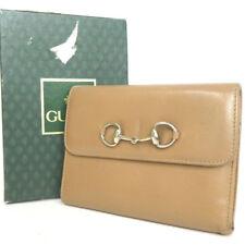 Gucci Auténtico Vintage Caballo Beige monedero billetera tríptica En Caja