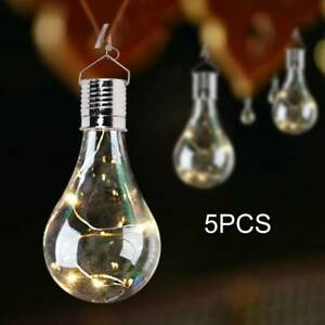 5pcs Garden Warm White Hanging Lights Bulbs Outdoor Decor Lights Solar Powered