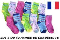 LOT 6 OU 12 PAIRES CHAUSSETTES FILLE ENFANT POINTURE COTON * TAILLE 27 au 34 *
