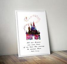 Cinderella castle, print, poster, disney, quote, wall art, gift, Princess