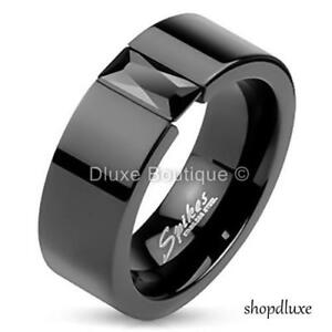 MEN'S PRINCESS CUT CZ BLACK IP STAINLESS STEEL WEDDING RING BAND SIZE 7-14