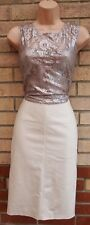 NEXT GREY SILVER METALLIC LACE BODYCON TUBE PENCIL PARTY FORMAL TAILORED DRESS 6