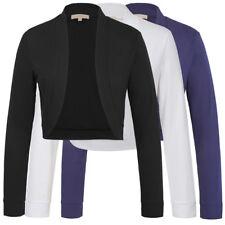 Trendy Women Basic Long Sleeve Open Front Cropped Coat Tops Bolero Shrug Jacket