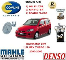 FOR DAIHATSU YRV 1.3 130 2003-2005 OIL AIR FILTER + SPARK PLUGS SERVICE KIT