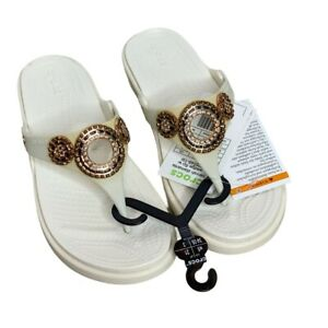 New CROCS  Sanrah Diamante Oyster/Rose Gold Wedge Flip Women's Size 5W