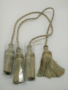 "(2) Rope Double Tassel Curtain Tiebacks 25"" Spread, 6"" Tassels ~ Cornflower NEW"