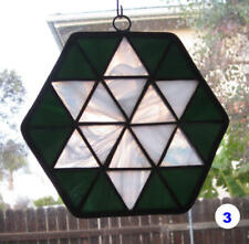 Stained glass sun-catcher window pendant - white and green