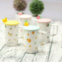Cartoon Fruits Graphic Ceramic Coffee Mug Set Milk Water Cup With Spoon gift new