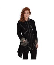 Zip Hip Length Viscose Patternless Coats & Jackets for Women