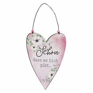 Clayre & Eef Blechschild Herz Schön dass es dich gibt Vintage Shabby
