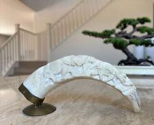 Vintage Bone Bovine Carved Elephant Figure