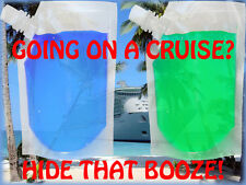 2 PACK PLASTIC 8 OZ CLEAR HIDDEN FLASK SET CRUISE RUM SPORTS CONCERTS RUNNERS