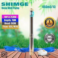 "Shimge 1HP Stainless Steel Bore Water Pump Deep Well 4"" Upto 96mHead,80l/minFlow"