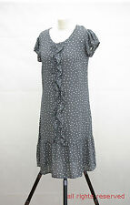 L159/42 Monsoon Women's Spotted Cap Sleeves 100%Viscose Grey Dress,UK 10 Eur38